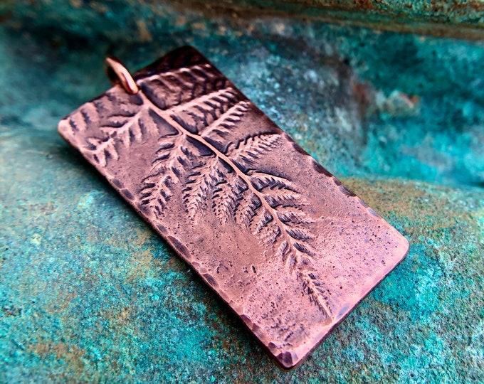 Large Copper Fern Imprint Pendant, Botanical Focal Pendant