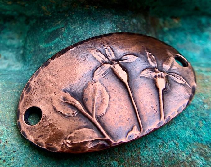 Copper Floral Bracelet Link, Botanical Flower Connector