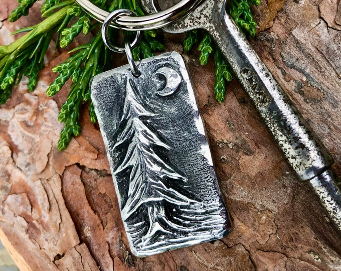Pine Tree Keychain,  Evergreen Forest Key Ring