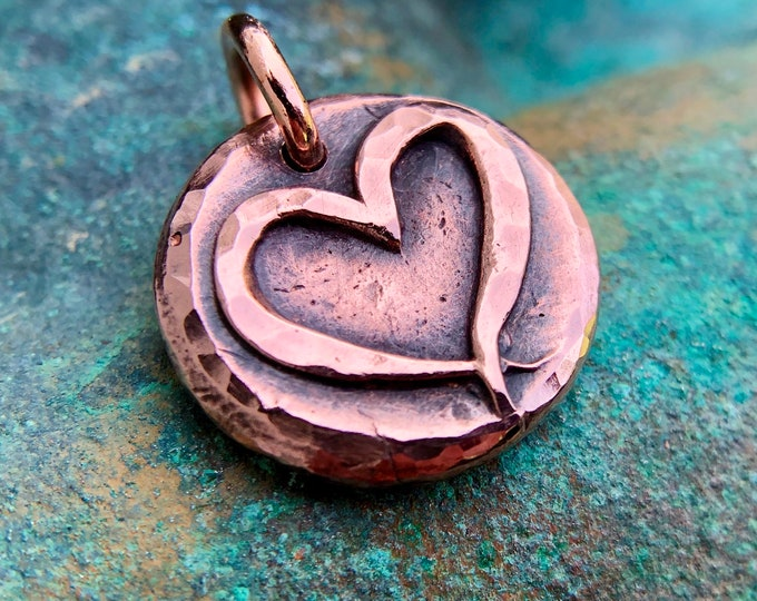 Copper Open Heart Pendant or Charm, Rustic Ribbon Heart