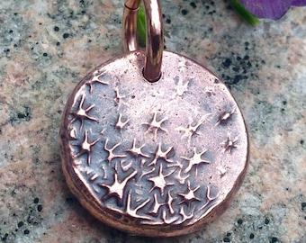 Copper Dancing Stars Pendant, Tiny Galaxy Charm, Small Cute, Night Sky