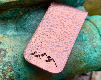 Mountain Copper Money Clip, Hand Hammered, Hand Stamped