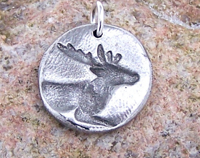 Deer Pendant, Buck Charm, Rustic Deer Jewelry, Hand Cast Pewter