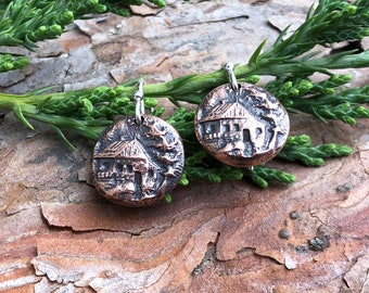 Copper Cabin Earrings, Sterling Silver Earwires, Log Cabin in the Pines, Woodland Retreat, Home Sweet Home