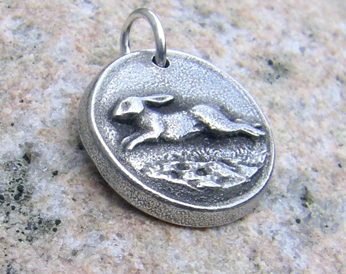Running Rabbit Pendant, Bunny Charm, Hand Cast Pewter Hare