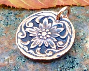 Copper Flower Pendant, Fancy Border, Western Rustic Jewelry