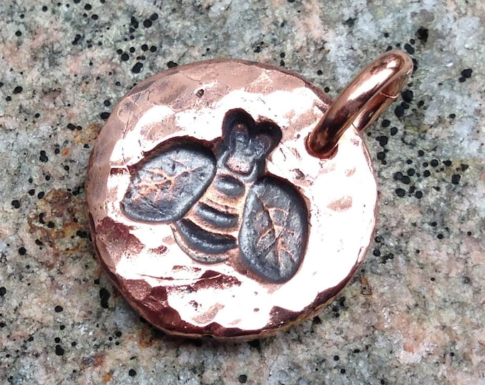 Copper Bee Charm, Honey Bee Pendant