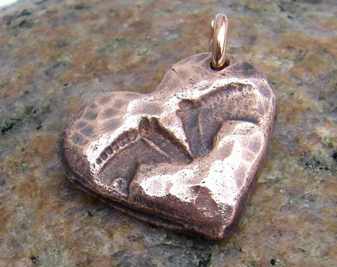 Copper Horse Pals Pendant, Rustic Horse Jewelry