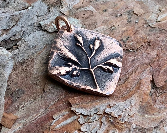 Copper Wildflower Pendant, Rustic Plant Jewelry