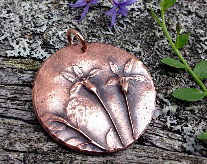 Copper Flower Pendant, Wildflower Nature Jewelry