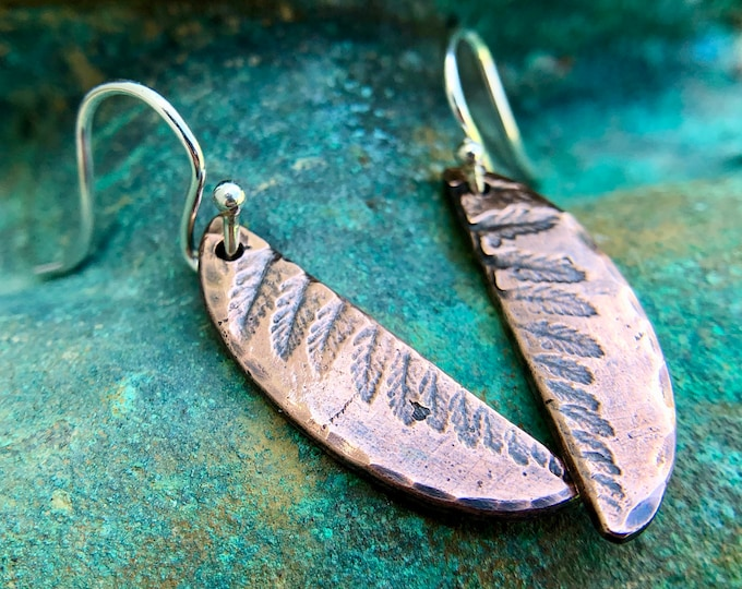 Copper Fern Imprint Earrings, Sterling Silver Earwires
