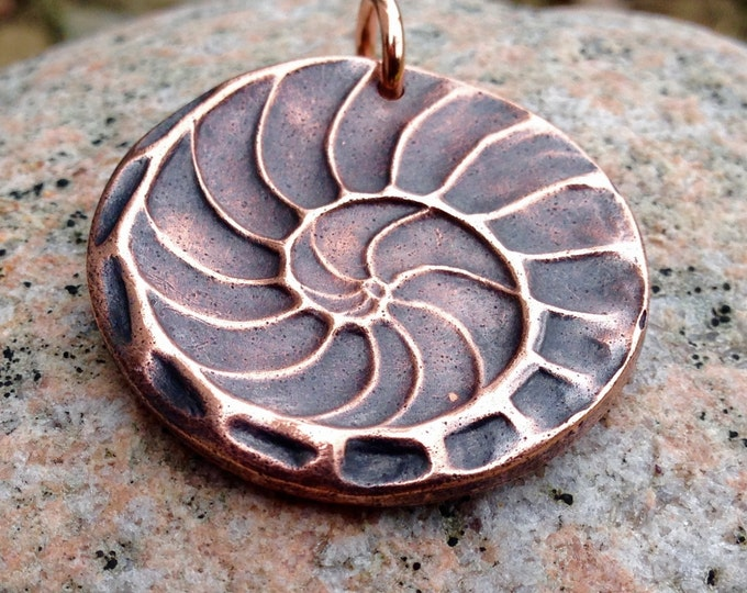 Copper Natures Spiral Pendant, Nautilus Shell Imprint Jewelry