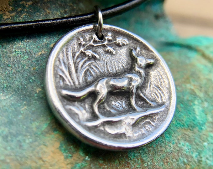 Fox Necklace, Rustic Woodland Jewelry, Fox Pendant