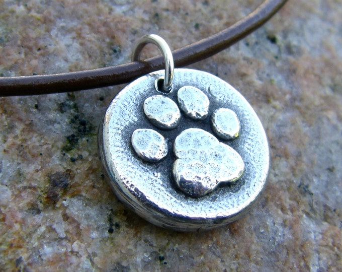Paw Print Pendant or Necklace, Hand Cast Pewter, Rustic Pet Jewelry