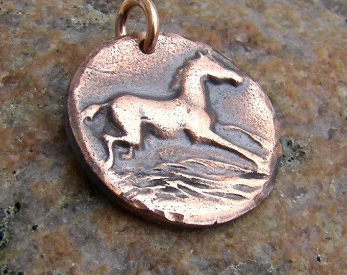 Copper Happy Horse Pendant