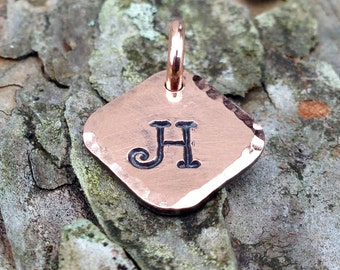Personalized Copper Tag Charms, 1/2 inch, Hand Stamped Custom Letter