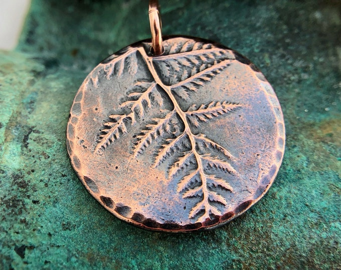 Round Fern Pendant, Rustic Forest Folage