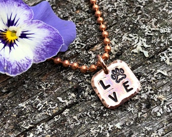 Dog Love Copper Necklace, Hammered and Stamped Copper Charm