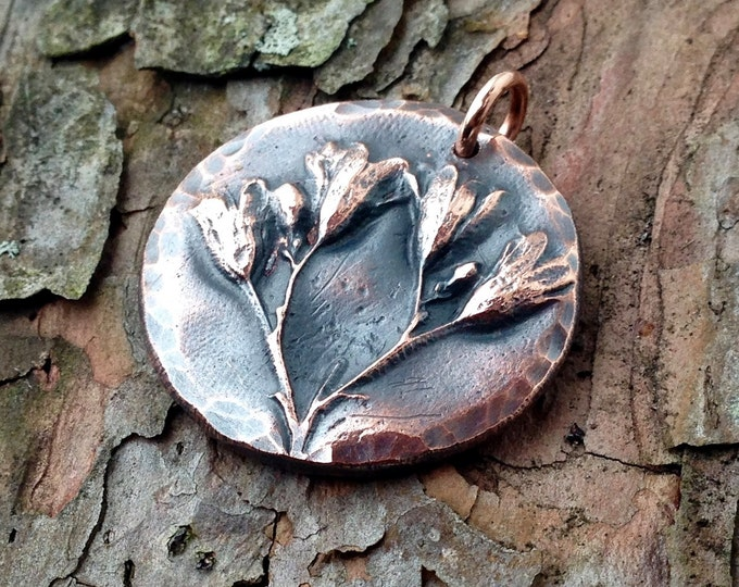 Copper Wildflower Pendant, BoHo Copper Jewelry