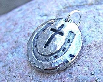 Cowgirl Cross Pendant, Horse Shoe Cross Charm, Rustic Horse Jewelry