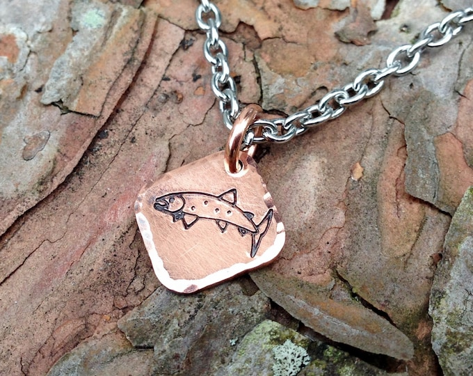 Copper Trout Necklace or Charm, Stainless Steel Chain or Copper Ball Chain