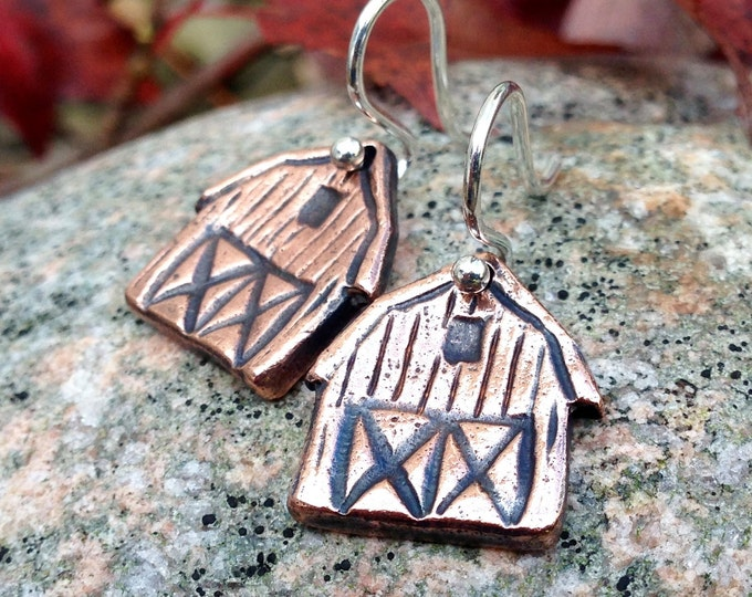 Copper Barn Earrings, Sterling Silver Ear Wires, Rustic Farm Jewelry