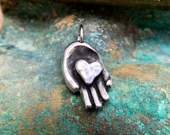 Hand Holding Heart Pendant, Share Kindness Charm, Hand Cast Pewter