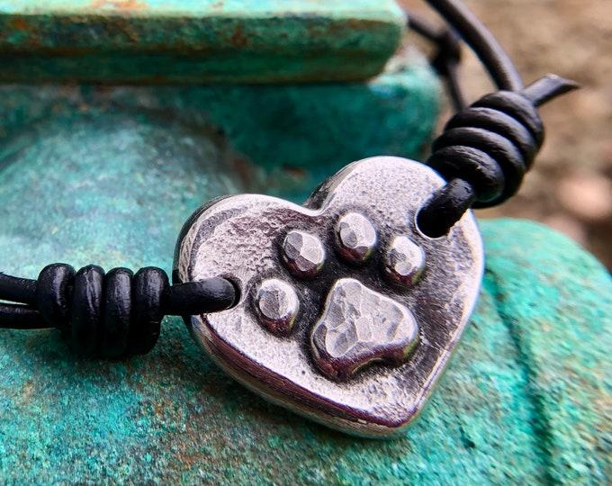 Adjustable Paw Print Heart Bracelet, black or brown
