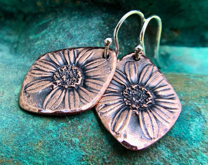 Copper Daisy Earrings with Sterling Silver Earwires
