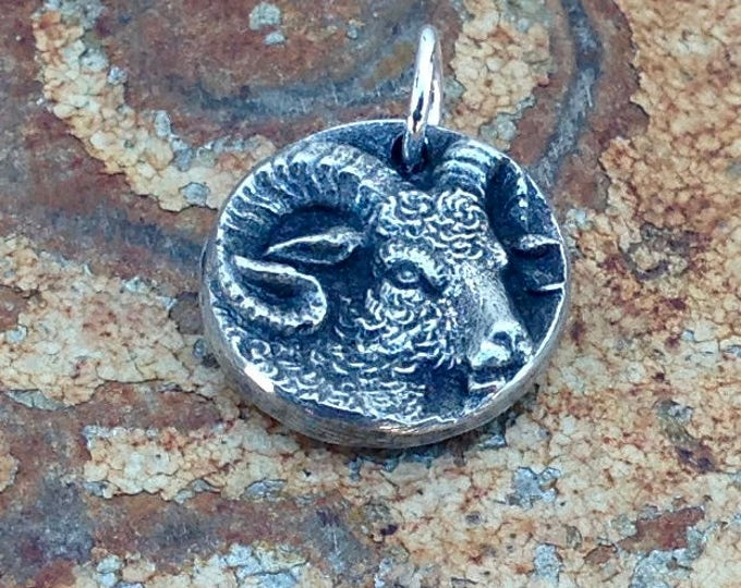 Sheep Pendant, Ram Charm, Hand Cast Pewter Jewelry