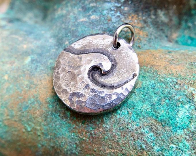 Little Ocean Wave Pendant, Wave Charm, Hammered Texture