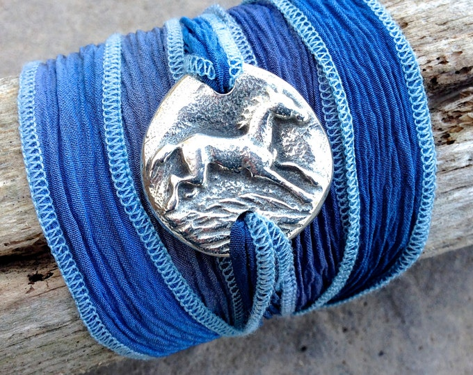 Running Horse Bracelet, SIlk Ribbon  Adjustable Wrap, Boho, Blue, Purple, Green
