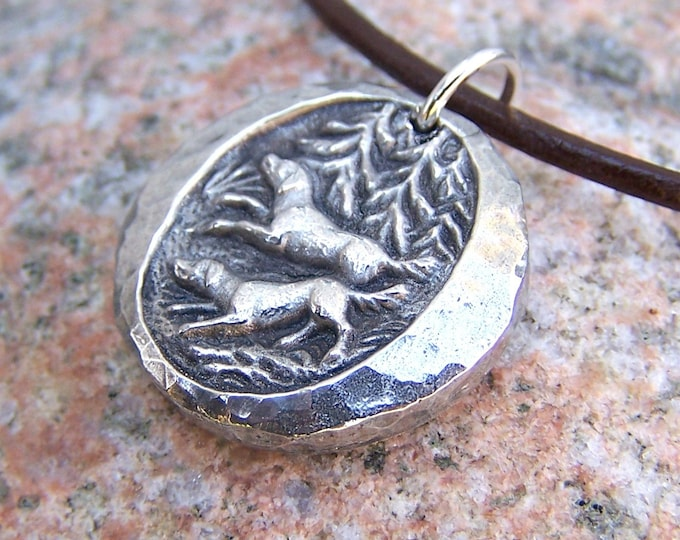 Two Dogs in the Woods Pendant, Rustic Hand Cast Pewter, Dog Jewelry