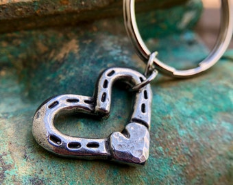 Horse Shoes and Heart Key Chain, Key Ring for Horse Lover