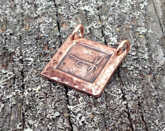 Copper Fly Fishing Pendant, Dry Fly Fisherman Gift, Mayfly