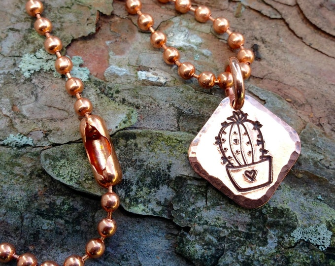 Copper Cactus Love Charm or Necklace, Handstamped Pendant, Copper Bead Chain