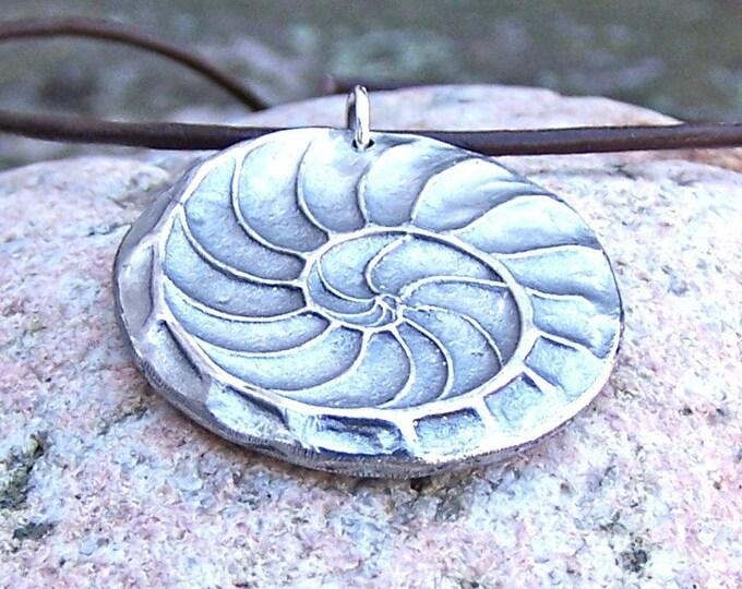 Nautilus Shell Necklace, Natures Spiral Pendant, Fibonacci Jewelry