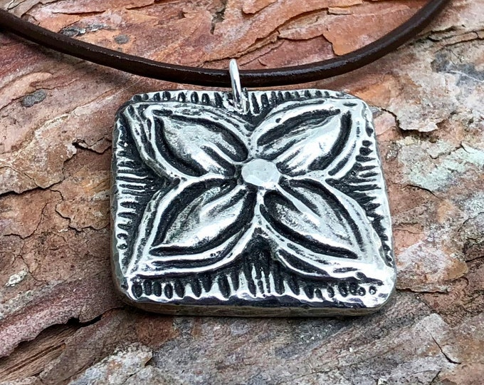 Flower Necklace, Rustic Hand Cast Pewter Pendant