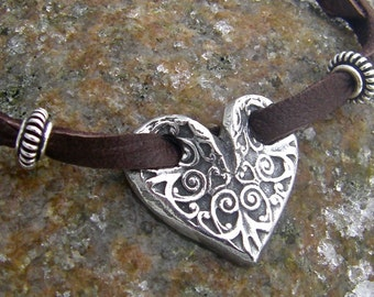 Through My Heart Bracelet, Soft Deerskin Leather and Pewter Heart