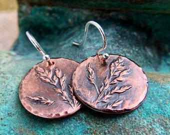Copper Meadow Earrings, Sterling Silver Earwires