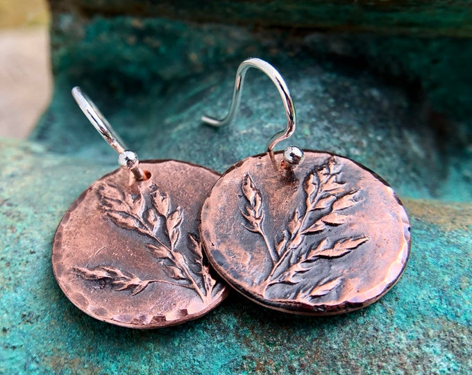 Copper Meadow Earrings, Sterling Silver Earwires