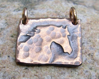 Copper Horse Head Pendant, Morning Mist