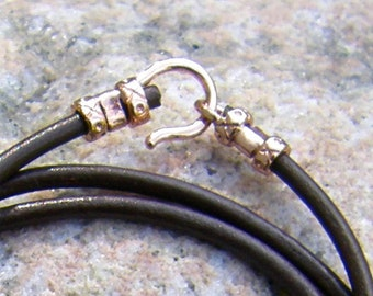 Brown or Black Leather Cord with Copper Clasp, 2mm, Hook and Loop Clasp, you choose the length