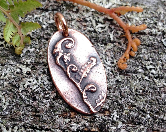 Small Oval Copper Fiddlehead Fern Pendant, Fern Jewelry