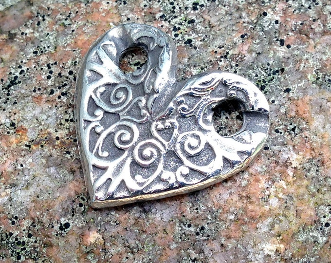 Heart Pendant or Bracelet Link, Handcast Pewter Slide Connector