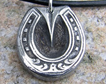 Fancy Horse Shoe Necklace, Horseshoe Pendant, Rustic Horse Jewelry, Horse Lover Gift