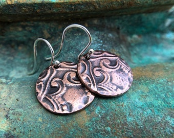 Copper Victorian Design Earrings, Sterling Silver Ear Wires