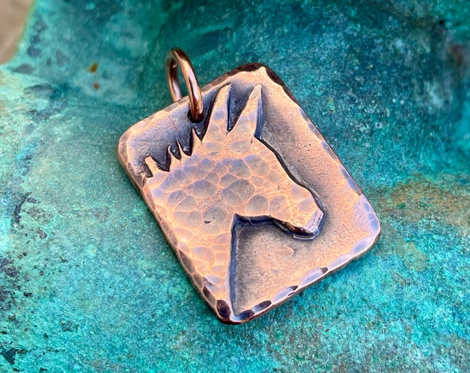 Copper Donkey Pendant, Mini Donkey Jewelry