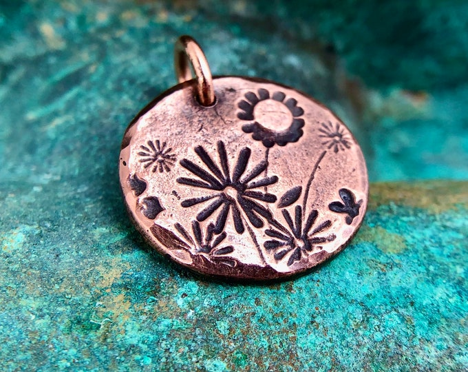 Copper Wildflowers Pendant or Charm