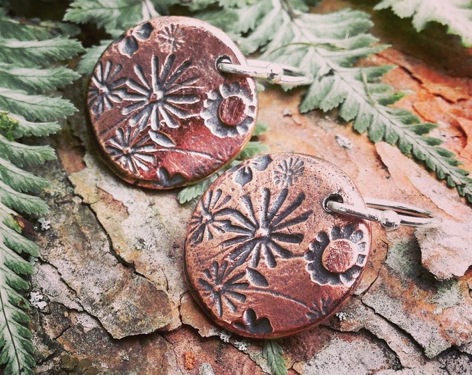 Copper Wildflower Earrings, Sterling Silver Ear Wires, Rustic Flower Jewelry